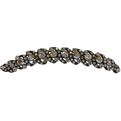 Crystal Hair Comb Swirls Available in Crystal, Fuschia, Peridot, Pink, Sapphire, Topaz. Set in Silver metal.