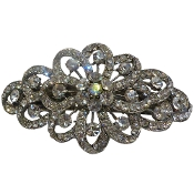 Swarovski Crystal Barrette Swirls Available in Crystal, Marcasite, Peridot, Pink, Ruby, or Topaz.