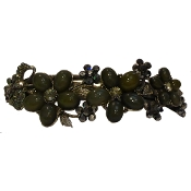 Crystal Barrette 3 Flowers Color Available in amethyst, emerald, garnet, sapphire, and smoke.