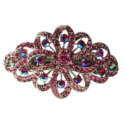 Swarovski Crystal Barrette Swirls Available in Aqua, Crystal, Marcasite, Peridot, Pink, Ruby, or Topaz.